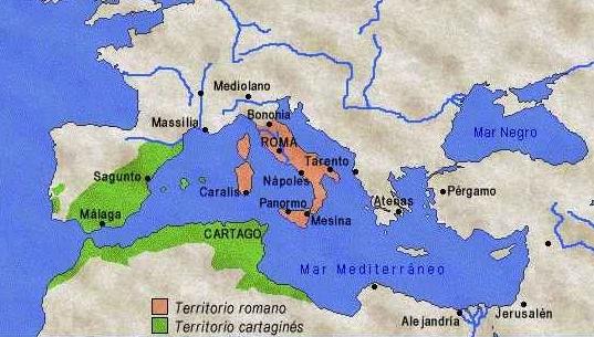 mapa Guerras Púnicas Causas y Consecuencias Roma y Cartago