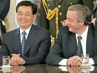 en China, Kirchnner y el presidente de China