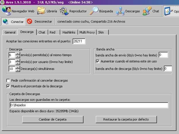 Descargar , Instalar y Configurar  Ares Gratis