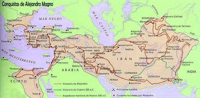 mapa de las conquista de alejandro