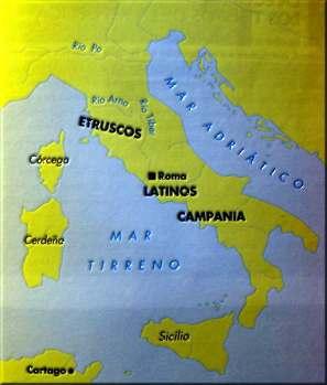 mapa ORIGEN DE ROMA Y LA MONARQUÍA