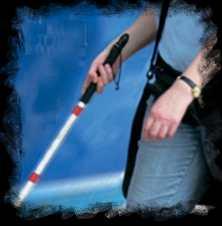 bastón blanco para ciegos