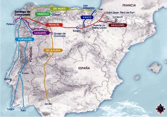 mapa de las rutas de peregrinacion a santiago de compostella