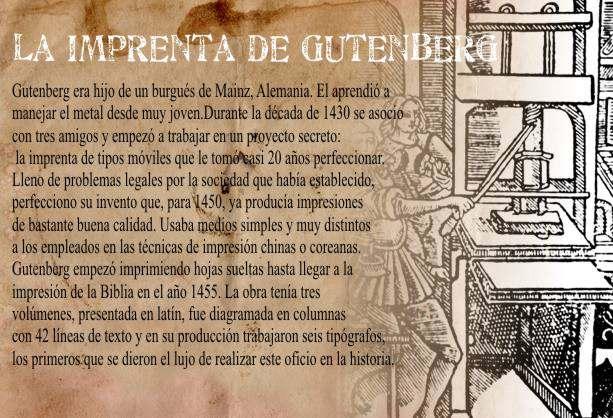 Gutenberg Inventa la Imprenta de Caracteres Móviles
