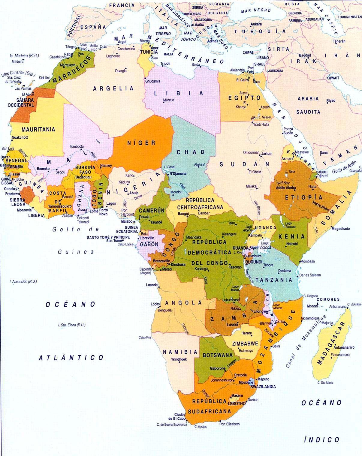 Mapa politico de africa grande los pa ses de africa en colores - Nombres clasicos espanoles ...