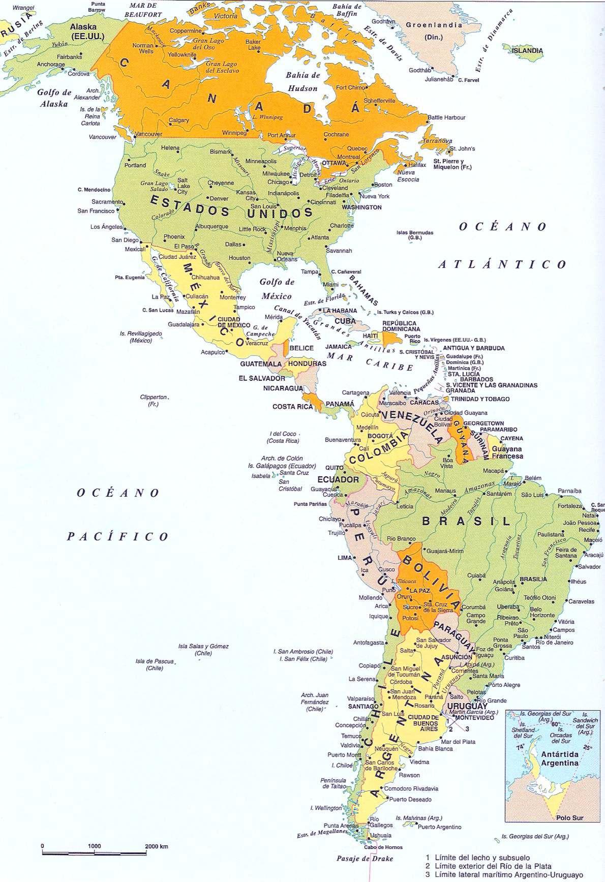 MAPA politico Grande de America en Colores Paises