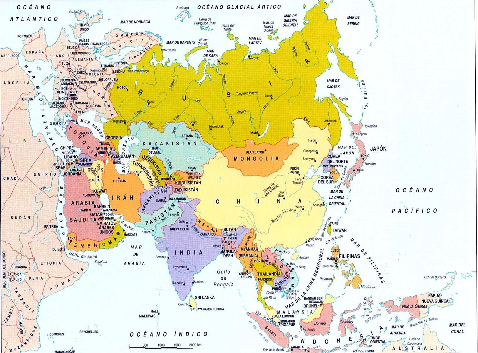 Mapa Politico de Asia Grande Division Poltica