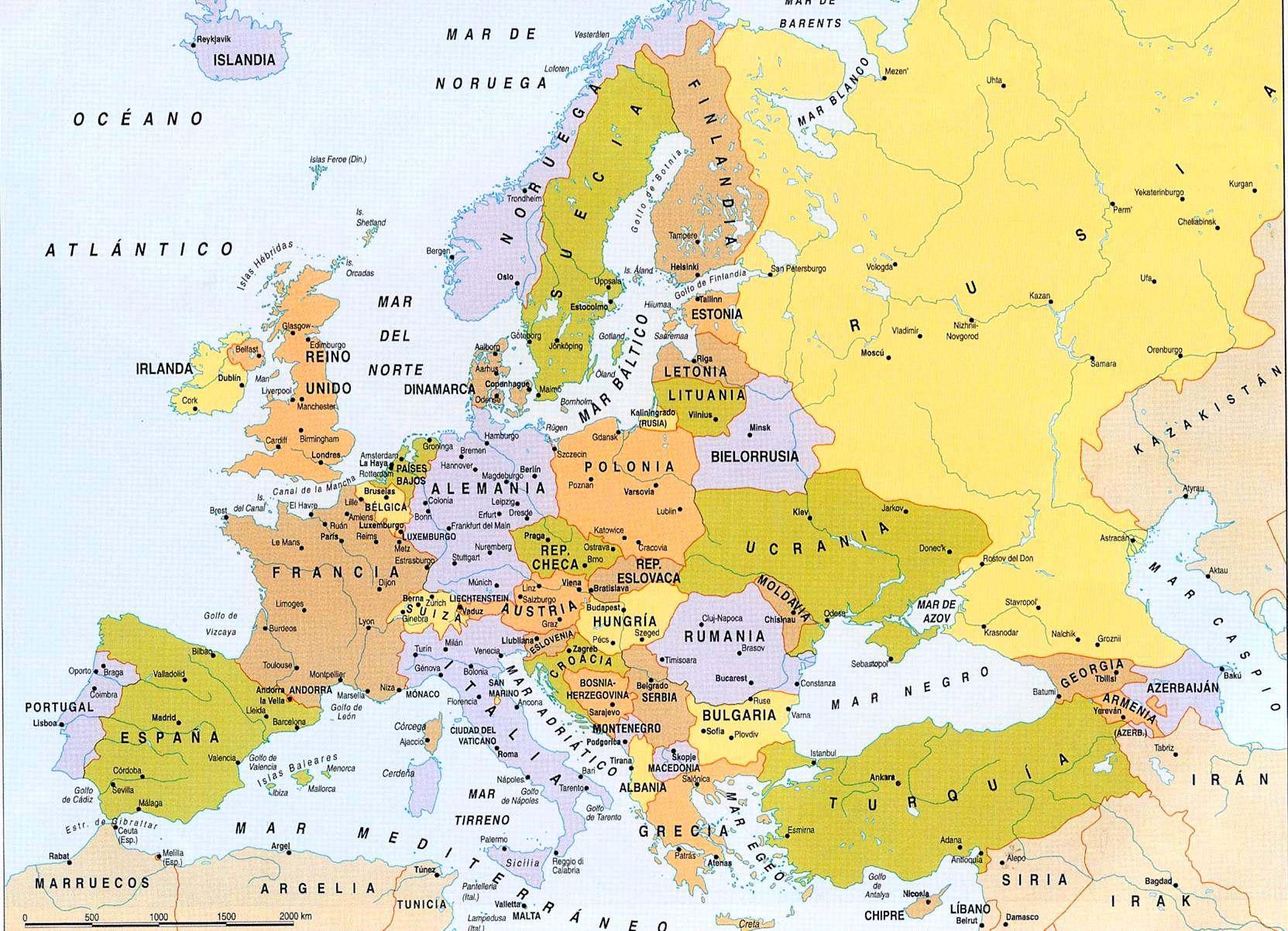Mapa Politico de Europa Grande Con Breve Descripcin Geografica