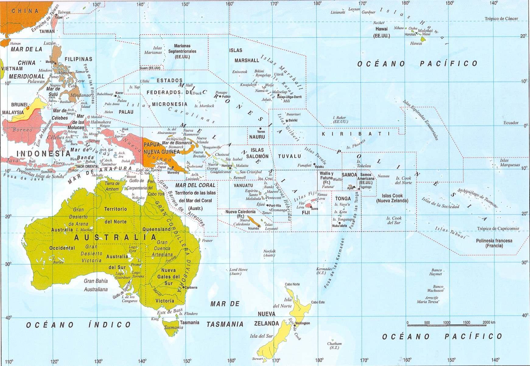 Mapa De Oceania Fisico En Español.Mapa Politico De Oceania Grande Breve Descripcion Geografica