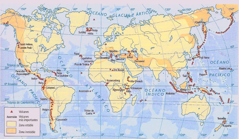 mapa de volcane en el mundo