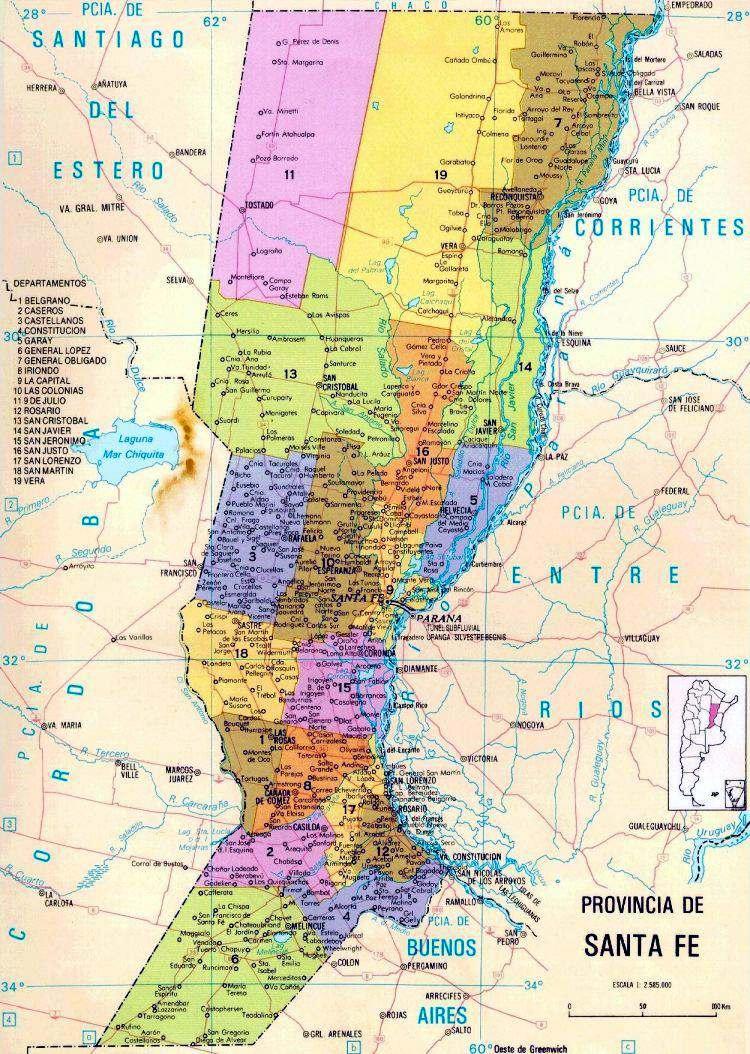 mapa politico de santa fe