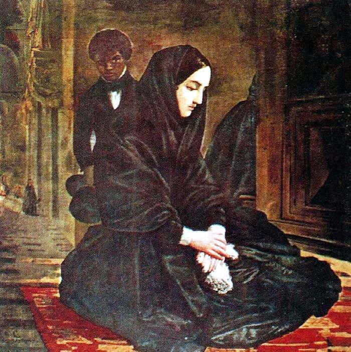 La porteña en el templo, óleo, 1842