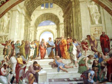 """Fragmento de """"La Escuela de Atenas""""."""