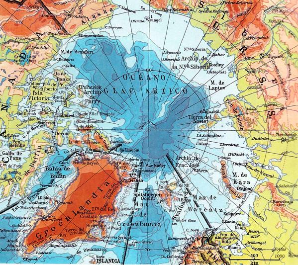 Mapa del oceano artico