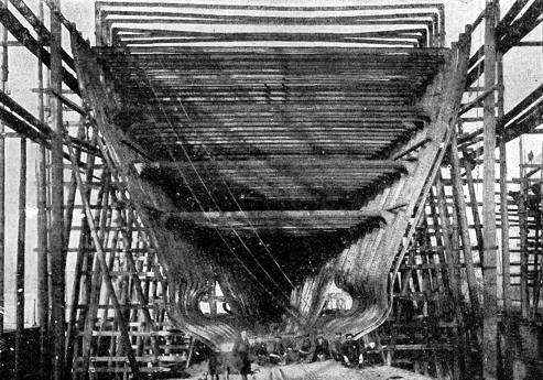 Costillas de un casco de un barco
