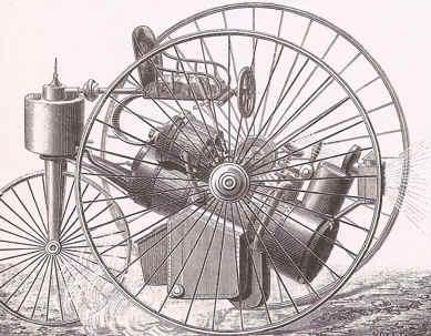 triciclo con caldera debajo asiento