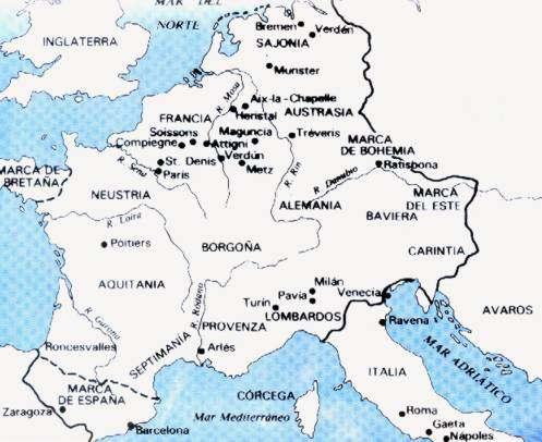 mapa del imperio carolingio en europa