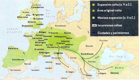 mapa de los celtas
