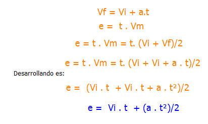 fórmula mas general para determinar el espacio recorrido por un móvil