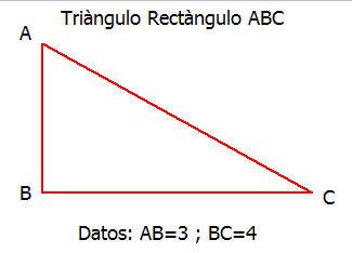 triangulo rectangulo, hallar el seno, coseno y tangente de los ángulos A y C