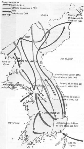 mapa guerra de corea