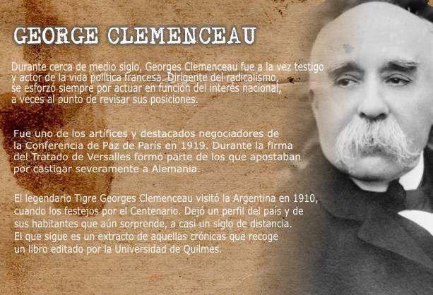 Biografía de George Clemenceau Visita Argentina en el Centenario