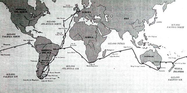 mapa viaje de darwin