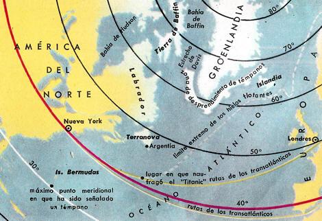 zona del océano Atlántico en que se encuentran los hielos flotantes.