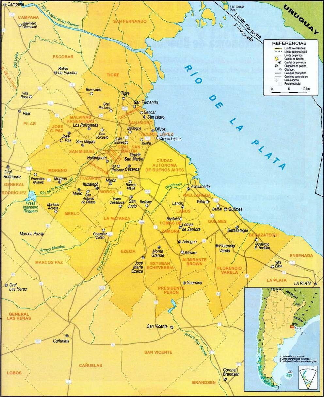Mapa Area Metropolitana de Buenos Aires y Principales Accesos a Bs.As.