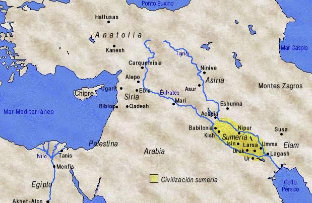 mapa ubicacion de los sumerios