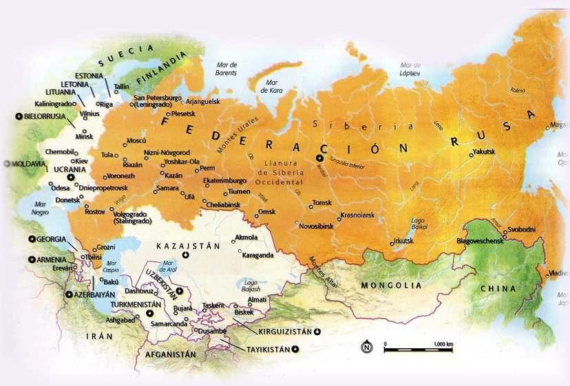 mapa de la antigua URSS