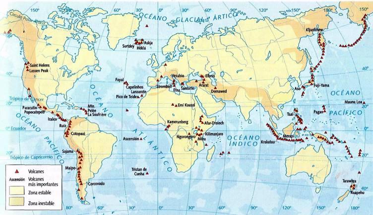 mapa de volcanes