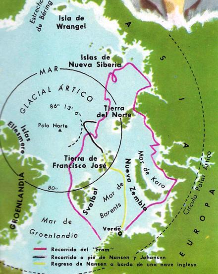 mapa del viaje de Nansen