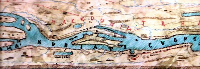 mapa antiguo de los caminos de roma