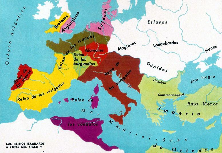 Resultado de imagen de mapa de lOS REINOS GERMANOS A FINALES DEL SIGLO V