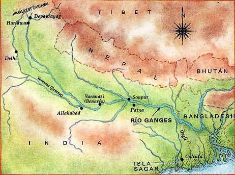 mapa del rio ganges
