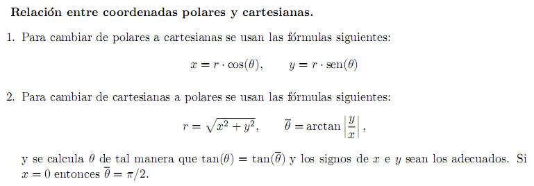 • Relación Entre Coordenadas Polares y Cartesianas