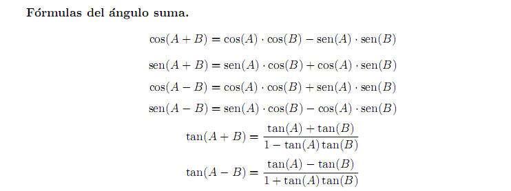 formula trigonometrica Ángulo suma