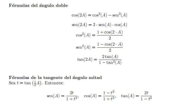 formula trigonometrica Ángulo doble