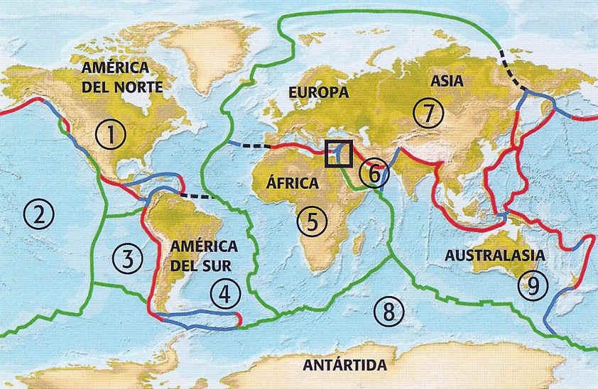 mapa tectonicas de placas