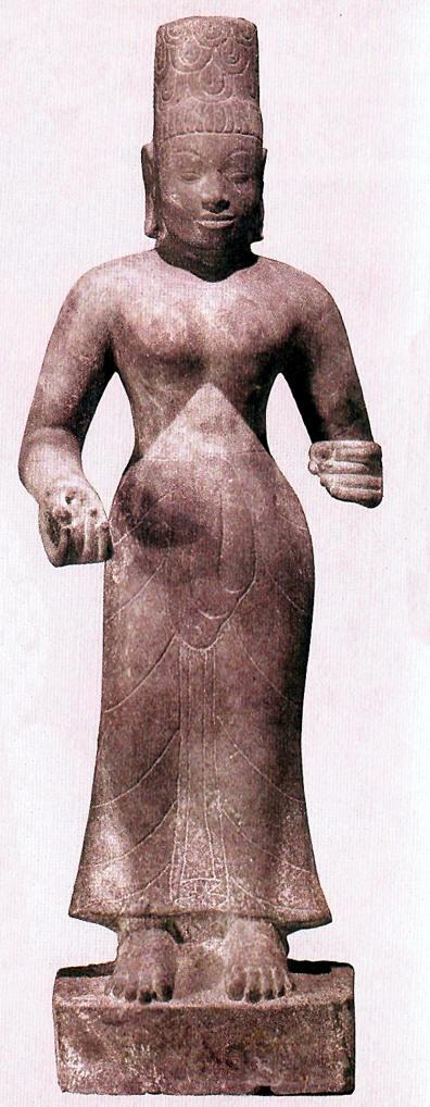 Divinidad brahmánica hecha en barro, arte khmer , siglo VIII