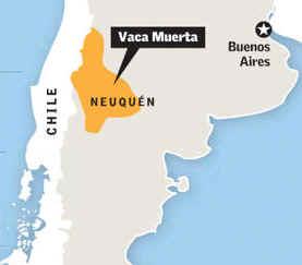 mapa Vaca Muerta Explotación del Yacimiento de Hidrocarburos en Neuquén