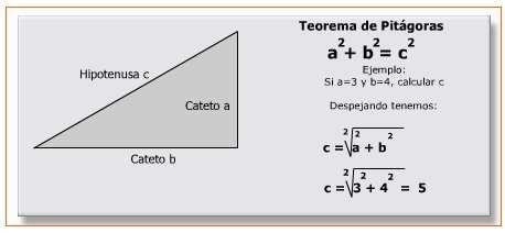 calculo de los catetos e hipotenusa de un triangulo rectangulo
