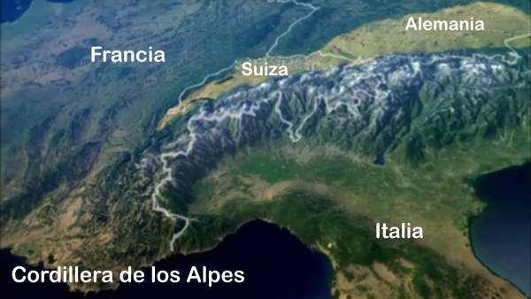 vista aerea de los alpes europa