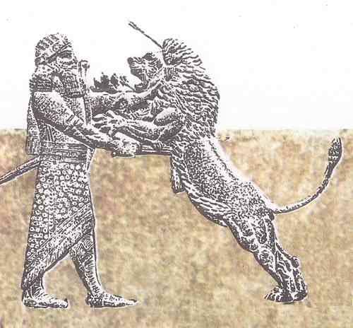 asirios luchan con leones