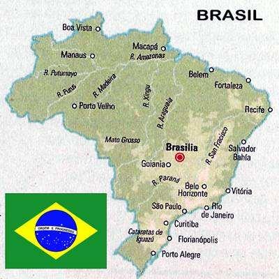 mapa y bandera de brasil