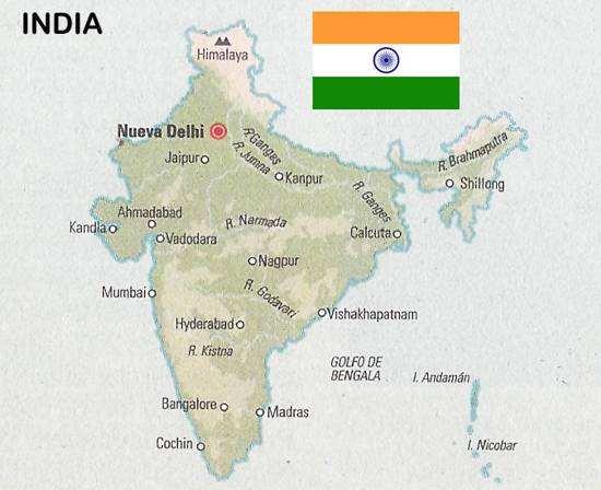 mapa y bandera de india