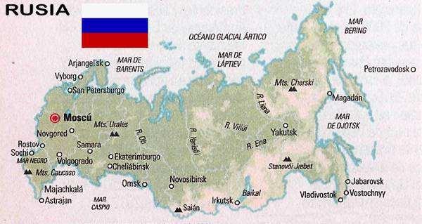 mapa y bandera de rusia