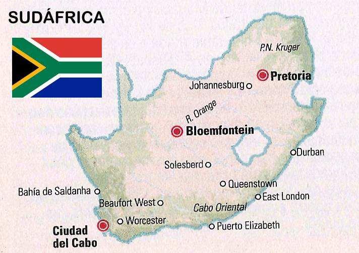 mapa y bandera de sudafrica