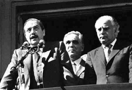 Raúl Alfonsín, junto a Antonio Cafiero principal referente del Peronismo